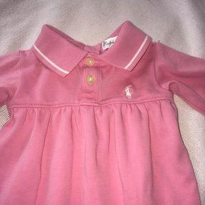 Newborn Ralph Lauren pink polo snap footie romper